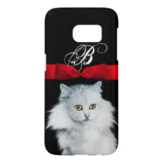 QUEEN OF WHITE CATS WITH RED RIBBON MONOGRAM SAMSUNG GALAXY S7 CASE