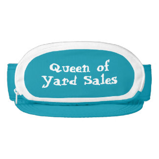 Queen of yard sales turquoise and white visor