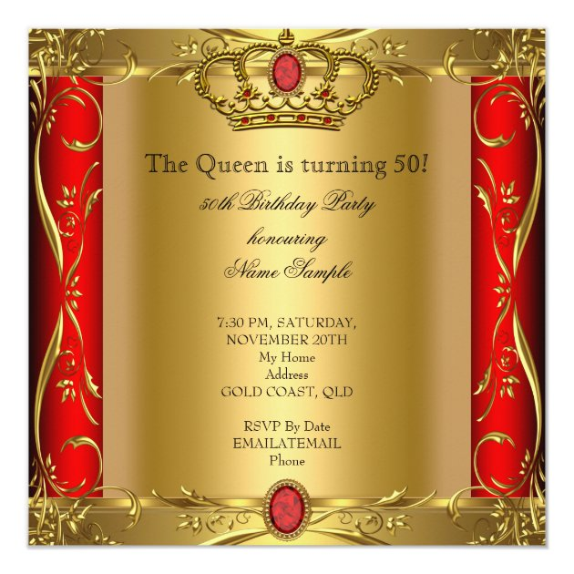 Queen or King Regal Red Gold 50th Birthday Party Card | Zazzle
