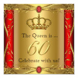 Queen or King Regal Red Gold 60th Birthday Party Invitations