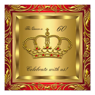 Queen or King Regal Red Gold Birthday Party Card