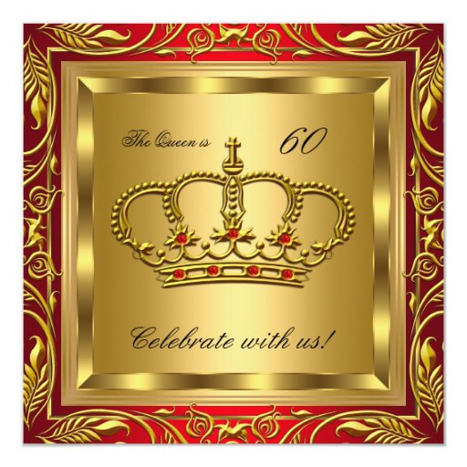 Queen Or King Regal Red Gold Birthday Party Personalized Announcement
