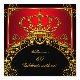 Queen or King Regal Red Gold Royal Birthday Party Card