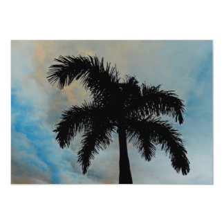 Queen Palm Silloutte From Florida 5x7 Paper Invitation Card