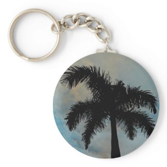 Queen Palm Silloutte From Florida keychain