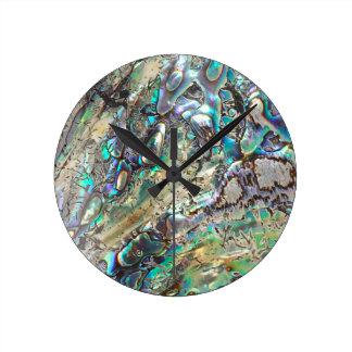 Queen paua shell round clock