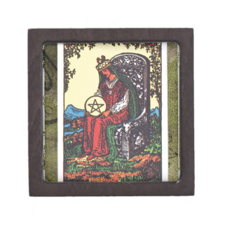Queen Pentacles Tarot Card Fortune Teller Telling Jewelry Box