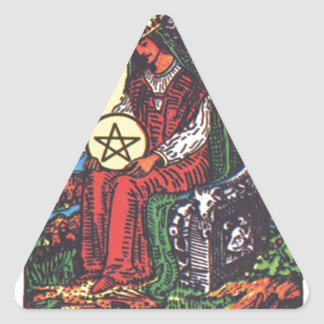 Queen Pentacles Tarot Card Fortune Teller Telling Triangle Sticker
