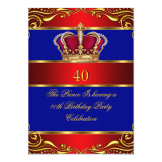 Queen Prince King Regal Red Gold Blue Crown Card
