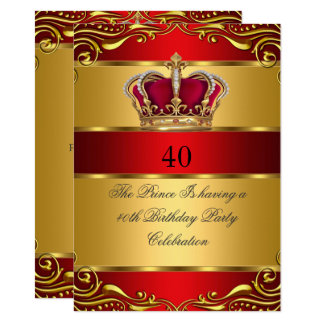 Queen Prince King Regal Red Gold Crown Birthday Card