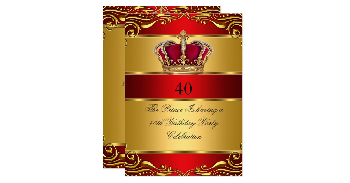 Queen Prince King Regal Red Gold Crown Birthday Invitation | Zazzle.com