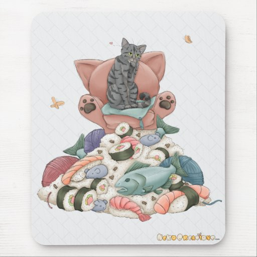 Queen Puss On The Sushi Throne Mousepad