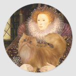 Queen - Red Persian cat Round Stickers
