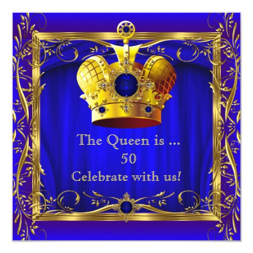 Queen Royal Blue Purple Gold 50th Birthday Party Card Zazzle