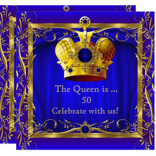 Queen Royal Blue Purple Gold 50th Birthday Party Invitation