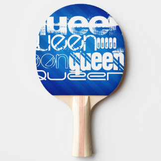 Queen; Royal Blue Stripes Ping-Pong Paddle