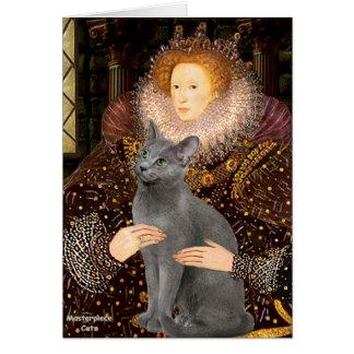Queen - Russian Blue cat Card