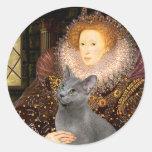 Queen - Russian Blue cat Round Sticker