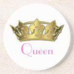 """Queen Stone Coaster<br><div class=""""desc"""">The Queen of the house finally can have her very own coaster. These great stone coasters will keep your tables looking nice and dry. Graphics of a golden crown, with pink text below reading, Queen. Customize the text if you prefer it to read something different. Makes the perfect gift for...</div>"""