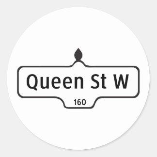 Queen Street West, Toronto Street Sign Classic Round Sticker