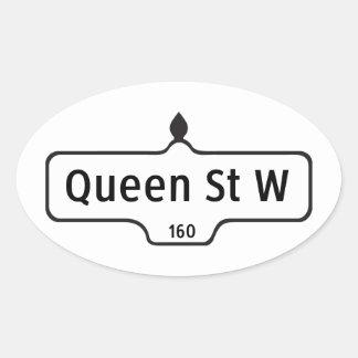 Queen Street West, Toronto Street Sign Oval Sticker