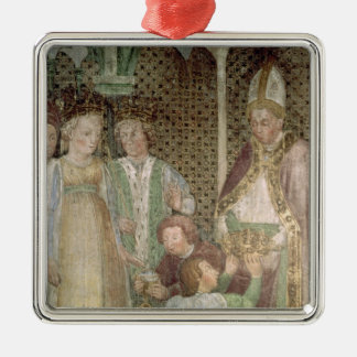 Queen Theodolinda and Pope Gregory the Great Square Metal Christmas Ornament