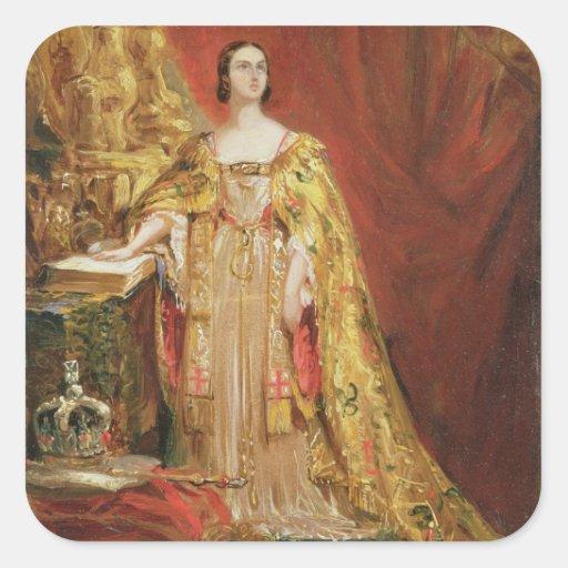 Queen Victoria (1819-1901) Taking the Coronation O Square Sticker