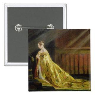 Queen Victoria in Her Coronation Robe, 1838 (oil o 2 Inch Square Button