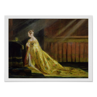 Queen Victoria in Her Coronation Robe, 1838 (oil o Poster
