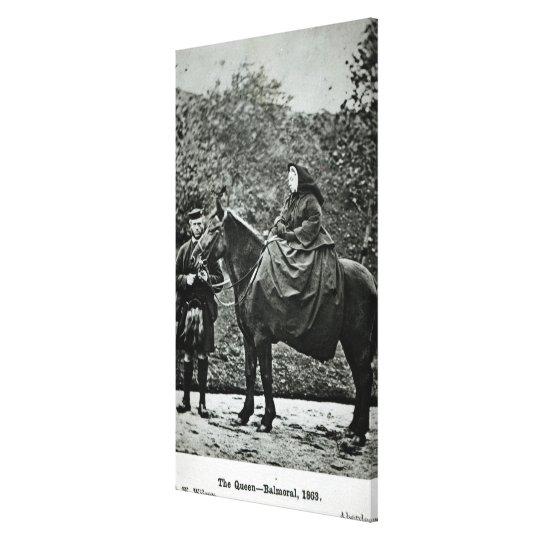 Queen Victoria  on horseback at Balmoral , 1863 Canvas Print