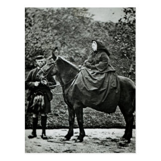 Queen Victoria on horseback at Balmoral 1863 Post Card