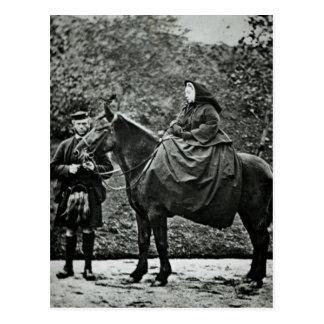 Queen Victoria  on horseback at Balmoral , 1863 Postcard