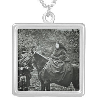 Queen Victoria  on horseback at Balmoral , 1863 Square Pendant Necklace