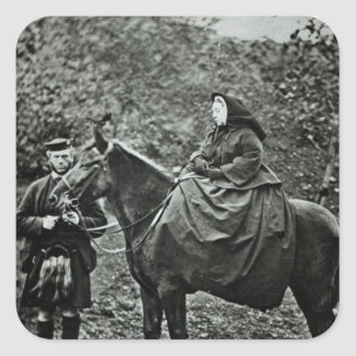 Queen Victoria  on horseback at Balmoral , 1863 Square Sticker