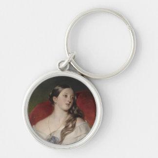 Queen Victoria Silver-Colored Round Keychain