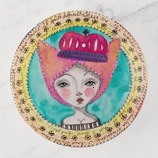 Queen Watercolor Art Illustration Colorful Quirky Trinket Trays