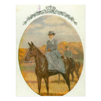 Queen Wilhelmina on horse sidesaddle #020SS Postcard