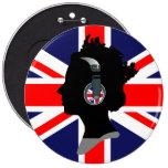 QUEEN WITH HEADPHONES (UK FLAG) Button