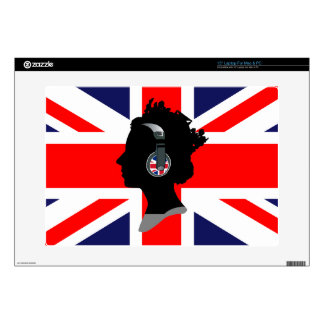 QUEEN WITH HEADPHONES (UNION JACK) SKINS FOR LAPTOPS
