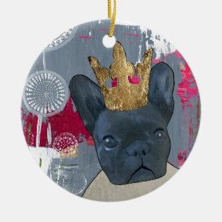 Queen Zoey the French Bulldog Ceramic Ornament