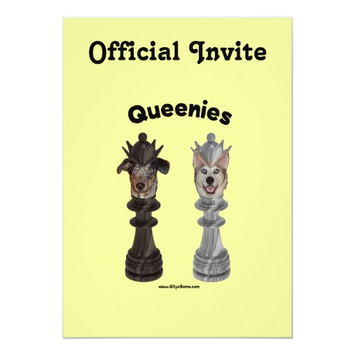 Queenies Chess Dogs 5x7 Paper Invitation Card