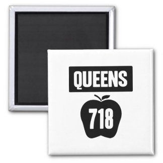 Queens 718 cortado de Apple y de la bandera grande Imán Cuadrado