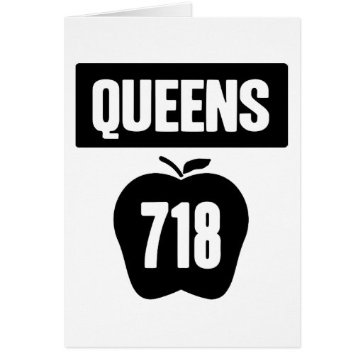 Queens 718 Cut Out of Big Apple &  Banner, 1 Color Card