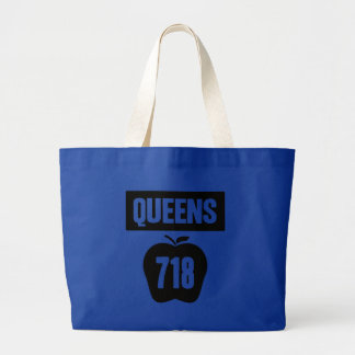 Queens 718 Cut Out of Big Apple &  Banner, 1 Color Large Tote Bag