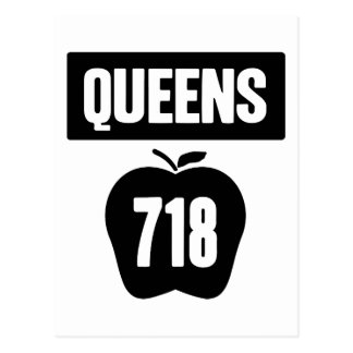 Queens 718 Cut Out of Big Apple &  Banner, 1 Color Postcard