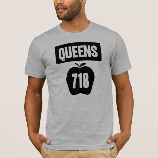 Queens 718 Cut Out of Big Apple &  Banner, 1 Color T-Shirt