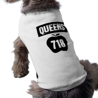 Queens 718 Cut Out of Big Apple &  Banner, 1 Color Tee