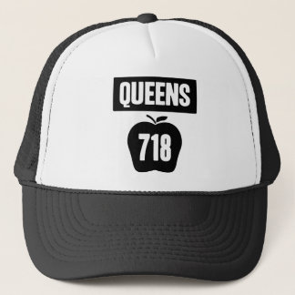 Queens 718 Cut Out of Big Apple &  Banner, 1 Color Trucker Hat