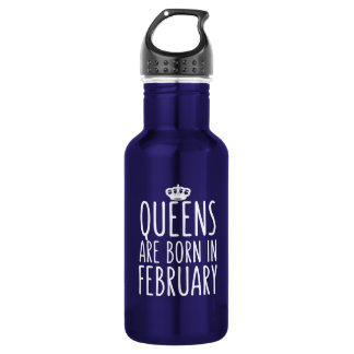 Queens are Born in February Stainless Steel Water Bottle