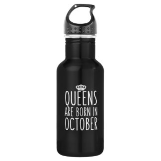 Queens are Born in October Stainless Steel Water Bottle